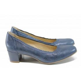 Дамски обувки на среден ток - естествена кожа - тъмносин - EO-12023