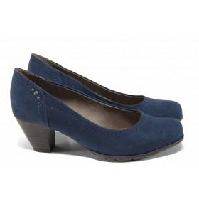 Дамски обувки на среден ток - висококачествен еко-велур - сини - EO-12026