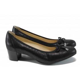 Дамски обувки на среден ток - естествена кожа - черни - EO-12024