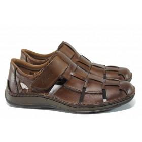 Мъжки сандали - естествена кожа - кафяви - EO-12029