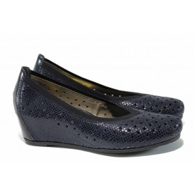 Дамски обувки на платформа - естествена кожа - сини - EO-12027