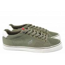 Мъжки обувки - висококачествен текстилен материал - зелени - EO-12035