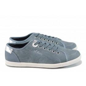 Равни дамски обувки - висококачествен текстилен материал - сини - EO-12030