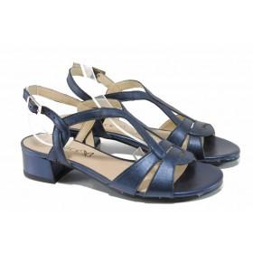Дамски сандали - естествена кожа - сини - EO-12037