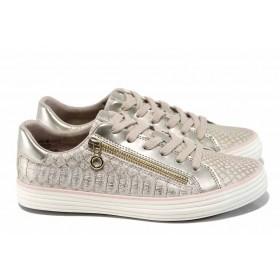 Равни дамски обувки - висококачествена еко-кожа - розови - EO-12039