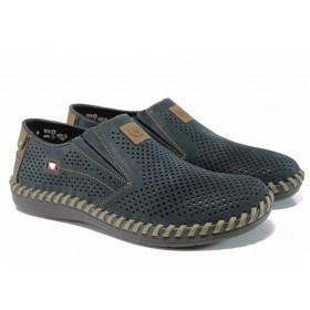 Мъжки обувки - естествен набук - тъмносин - EO-12074