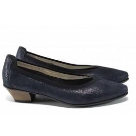Дамски обувки на среден ток - естествена кожа - сини - EO-12090