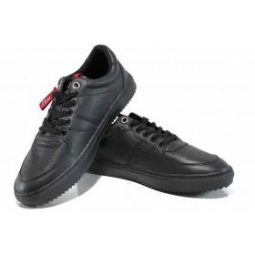 Спортни мъжки обувки - висококачествена еко-кожа - черни - EO-12243