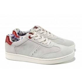 Равни дамски обувки - естествен набук - сиви - EO-12249