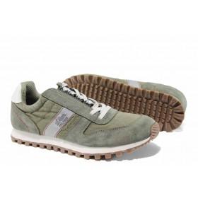 Мъжки маратонки - висококачествен текстилен материал - зелени - EO-12245