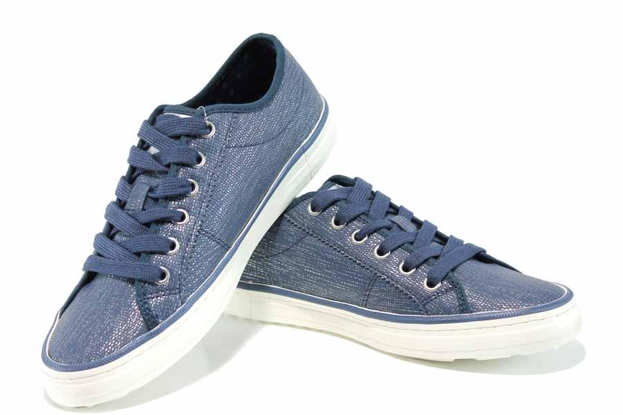 Равни дамски обувки - висококачествена еко-кожа - тъмносин - EO-12252
