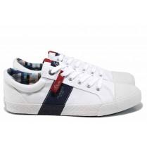 Спортни мъжки обувки - висококачествен текстилен материал - бели - EO-12236
