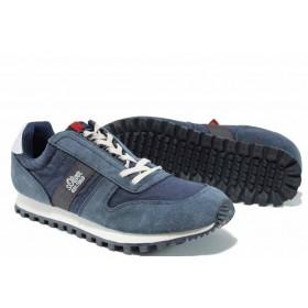 Мъжки маратонки - висококачествен текстилен материал - тъмносин - EO-12244