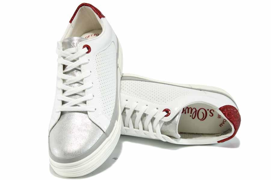 Равни дамски обувки - висококачествена еко-кожа - бели - EO-12248