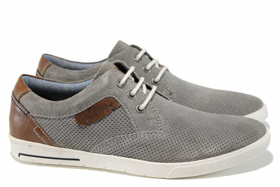Мъжки обувки - естествен набук - сиви - EO-12247