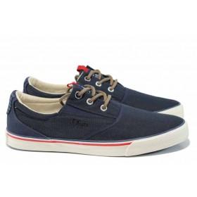 Спортни мъжки обувки - висококачествен текстилен материал - сини - EO-12239
