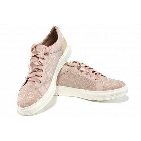 Равни дамски обувки - еко-кожа с текстил - розови - EO-12229