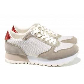 Равни дамски обувки - висококачествен текстилен материал - бели - EO-12225