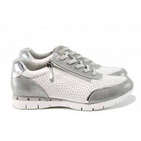Равни дамски обувки - еко-кожа с текстил - бели - EO-12232