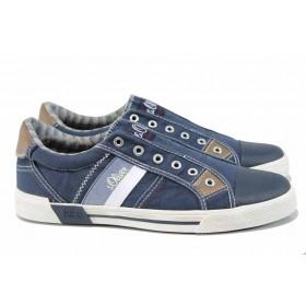 Спортни мъжки обувки - висококачествен текстилен материал - тъмносин - EO-12233