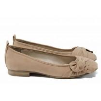 Равни дамски обувки - висококачествен текстилен материал - бежови - EO-12213
