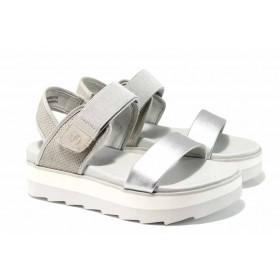 Дамски сандали - еко-кожа с текстил - сребро - EO-12219
