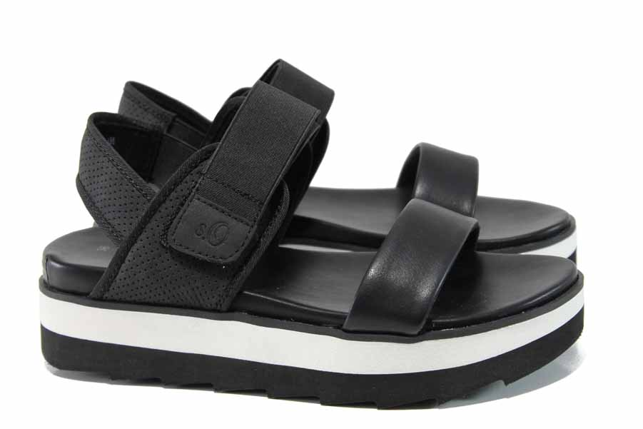 Дамски сандали - еко-кожа с текстил - черни - EO-12218
