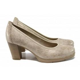 Дамски обувки на висок ток - висококачествена еко-кожа - бежови - EO-12235