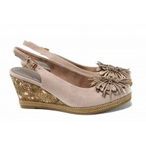 Дамски сандали - висококачествен еко-велур - розови - EO-12216
