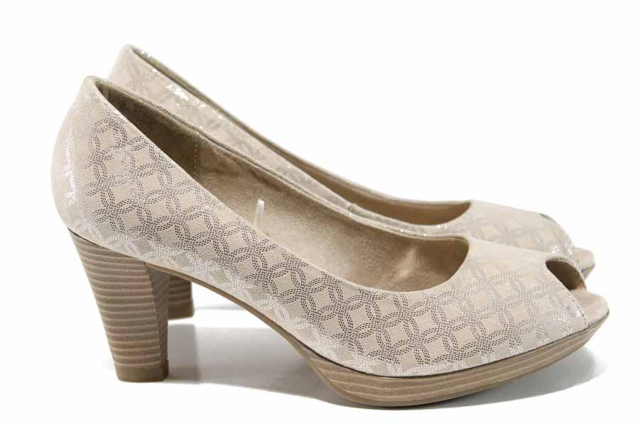 Дамски обувки на висок ток - висококачествен текстилен материал - бежови - EO-12205