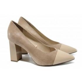 Дамски обувки на висок ток - естествена кожа с естествен лак - бежови - EO-12204