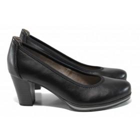 Дамски обувки на висок ток - висококачествена еко-кожа - черни - EO-12210
