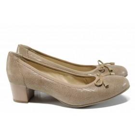 Дамски обувки на среден ток - естествена кожа - бежови - EO-12203