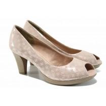 Дамски обувки на висок ток - висококачествен текстилен материал - розови - EO-12206