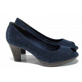 Дамски обувки на висок ток - висококачествен текстилен материал - сини - EO-12207