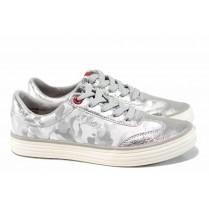 Равни дамски обувки - висококачествен текстилен материал - сребро - EO-12226