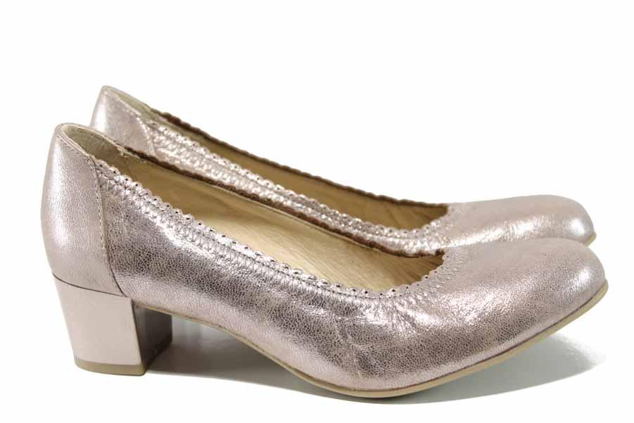 Дамски обувки на среден ток - естествена кожа - розови - EO-12202