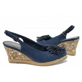 Дамски сандали - висококачествен еко-велур - тъмносин - EO-12217