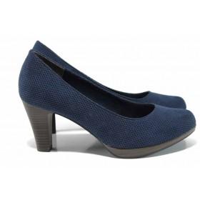 Дамски обувки на висок ток - висококачествен текстилен материал - сини - EO-12208