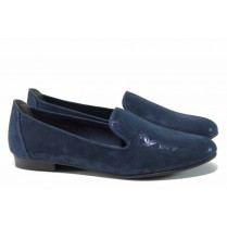 Равни дамски обувки - висококачествен еко-велур - сини - EO-12214
