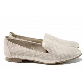Равни дамски обувки - висококачествен еко-велур - бежови - EO-12215