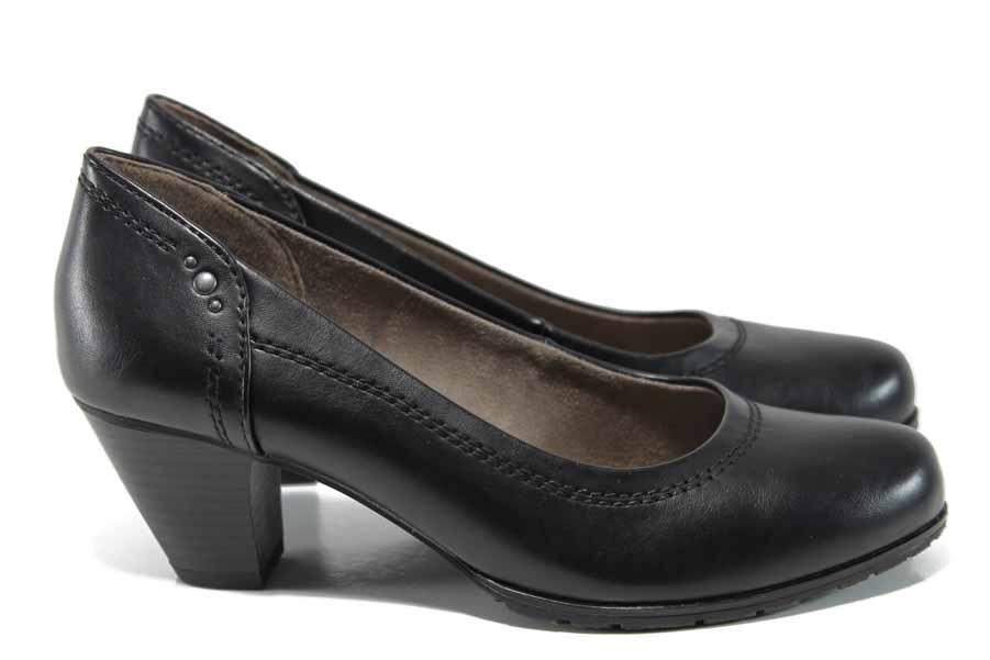 Дамски обувки на среден ток - висококачествена еко-кожа - черни - EO-12209