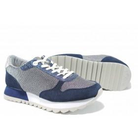 Равни дамски обувки - висококачествен текстилен материал - сини - EO-12224