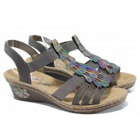 Дамски сандали - висококачествена еко-кожа - сиви - EO-12222