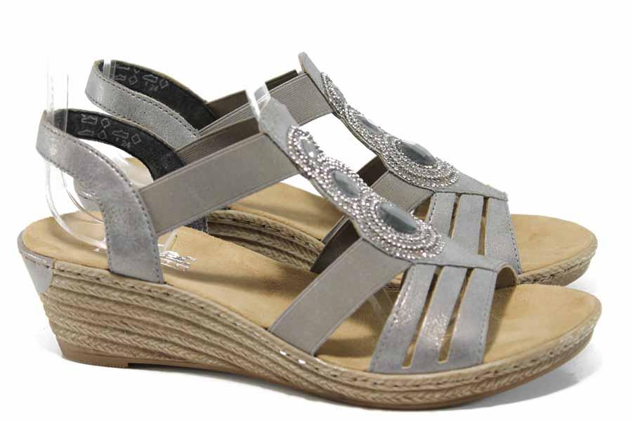Дамски сандали - висококачествена еко-кожа - сиви - EO-12221