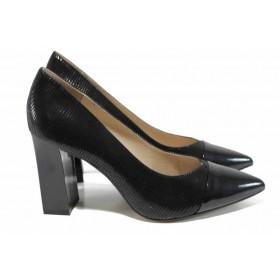 Дамски обувки на висок ток - естествена кожа - черни - EO-12337