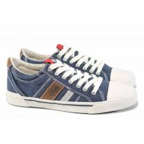 Спортни мъжки обувки - висококачествен текстилен материал - сини - EO-12342