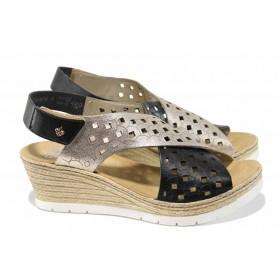 Дамски сандали - естествена кожа - черни - EO-12351