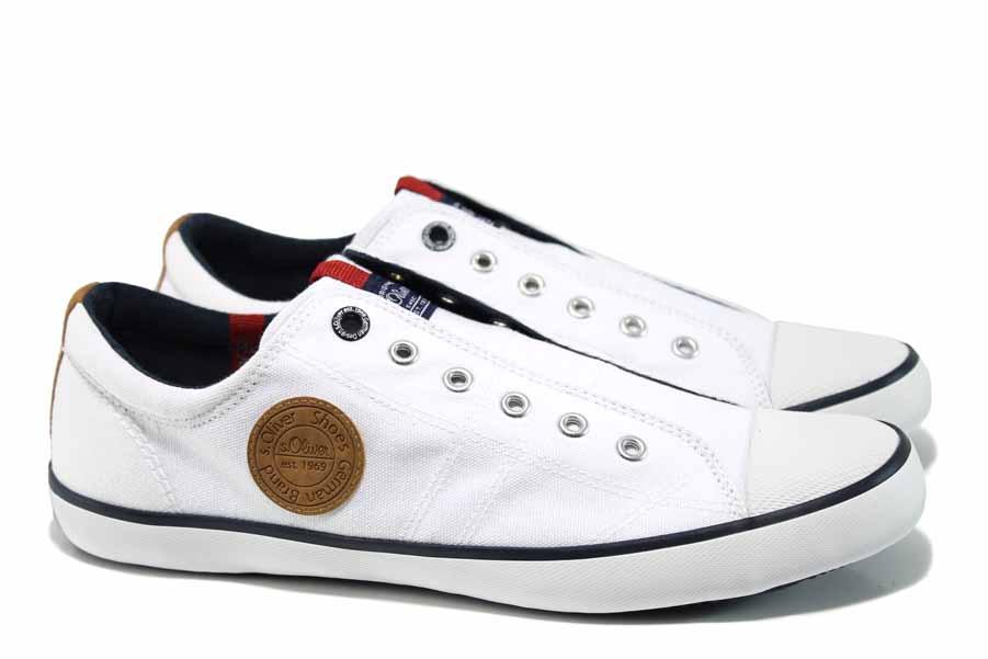 Мъжки обувки - висококачествен текстилен материал - бели - EO-12340