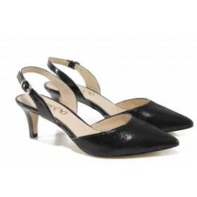 Дамски сандали - естествена кожа - черни - EO-12347